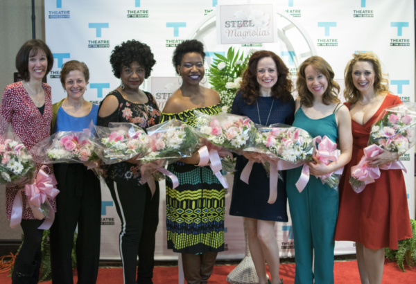 (left to right) Director Linda Fortunato with actors Jeannie Affelder, Joslyn Yvonne Jones, Myesha-Tiara, Heidi Kettenring, Landree Fleming and Cory Goodrich at the opening night of STEEL MAGNOLIAS at