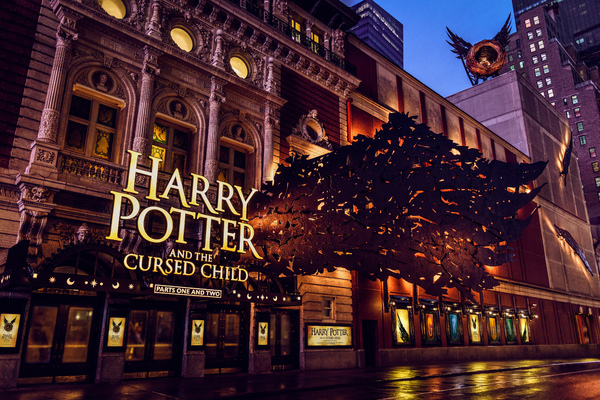 The Harry Potter and the Cursed Child marquee at the Lyric Theatre (214 West 43rd Street, NYC), designed by the production's Set Designer Christine Jones and International Scenic Supervisor Brett J. Banakis.