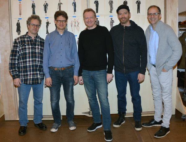 The Creative Team (left to right):   Greg Kotis (Music/Lyrics), Mark Hollman (Music/Lyrics), Bob Martin (Book), Harry Connick, Jr. (Music/Lyrics), John Rando (Director). Todd Schmidt (Paper Mill Playhouse Managing Director)