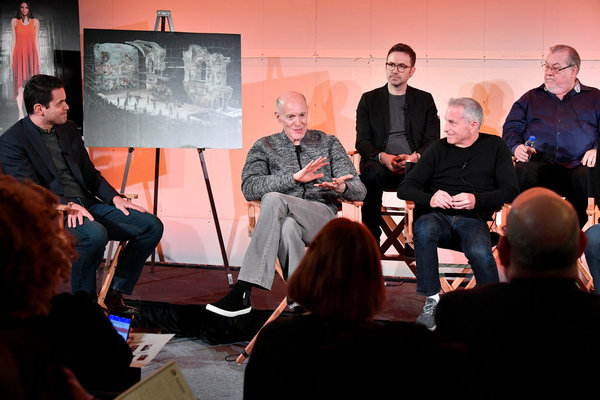JESUS CHRIST SUPERSTAR LIVE IN CONCERT -- Jesus Christ Superstar Live in Concert Press Junket -- Pictured: (l-r) Dave Karger, Moderator, Turner Classic Movies, IMDb; Neil Meron, Executive Producer; Jason Ardizzone-West, Production Designer; Marc Platt, Ex