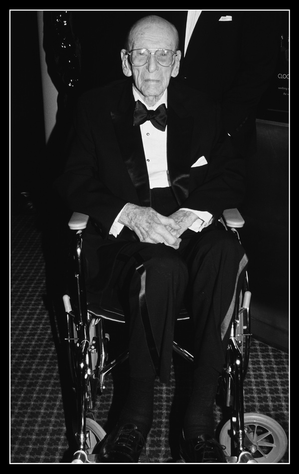 """George Abbott pictured at """"Damn Yankees"""" opening night at the Mariott Marquis in New York City on March 3, 1994."""