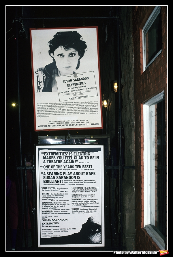 Susan Sarandon starring in 'EXTEREMITIES' Theatre Marquee at the Westside Arts Theatre in New York City in 1983.