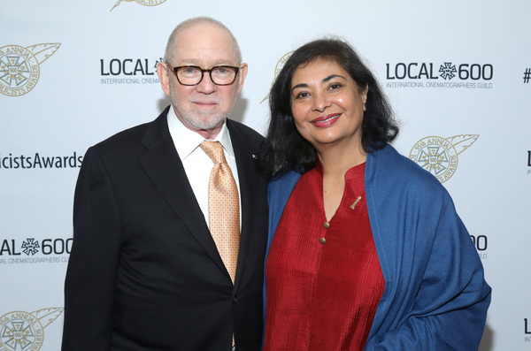 ICG President Steven Poster (L) and Meher Tatna at the 55th Annual ICG Publicists Awards