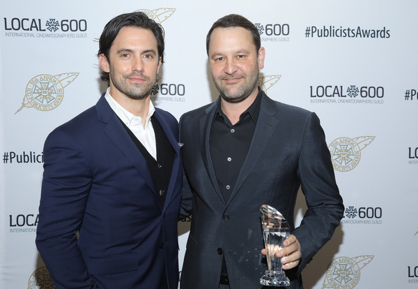 Milo Ventimiglia (L) and Television Showman of The Year Award winner Dan Fogelman at the 55th Annual ICG Publicists Awards