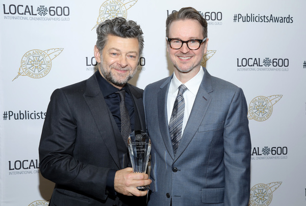 Andy Serkis, winner of The Motion Picture Showman of The Year Award, and presenter Matt Reeves at the 55th Annual ICG Publicists Awards
