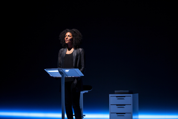"Sarah Jones stars in ""Sell/Buy/Date"" at the Geffen Playhouse. Photo by Chris Whitaker."