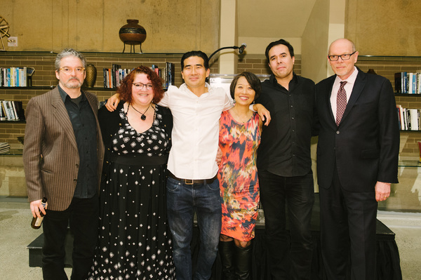 Sound Designer John Zalewski, Director Jessica Kubzansky, Ryun Yu (Gordon Hirabayashi), Playwright Jeanne Sakata, Set/Lighting Designer Ben Zamora and Arena Stage Executive Director Edgar Dobie at the opening night for Hold These Truths, March 2, 2018, at
