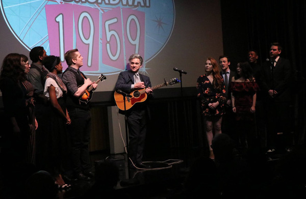 """NEW FACES SING BROADWAY 1959 ensemble and host, Gene Weygandt, (center) sing """"Eidelweiss� from THE SOUND OF MUSIC"""