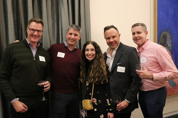 Todd Arp, Brian Donlan, Rick Kronenburger and Ron Krueger of the West Loop surround Tamara Sims, Porchlight Board Member and ICONS Gala Chair at NEW FACES SING BROADWAY 1959 from Porchlight Music Theatre