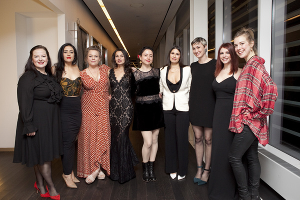 Director Danya Taymor, playwright Martyna Majok, and the cast of queens