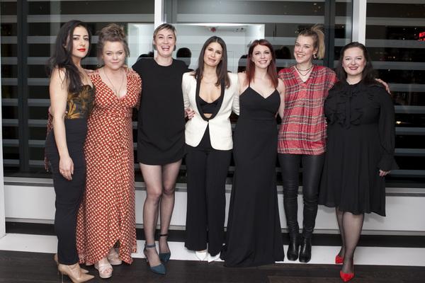 the cast of queens: Nadine Malouf, Ana Reeder, Jessica Love, Nicole Villamil, Andrea Syglowski, Sarah Tolan-Mee, and Zuzanna Szadkowski