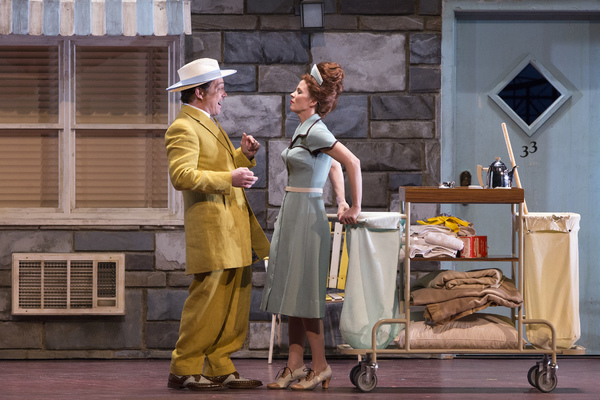 Christopher Maltman as Don Alfonso and Kelli O'Hara as Despina in Mozart's Cosi fan tutte. Photo: Martin Smith / English National Opera.