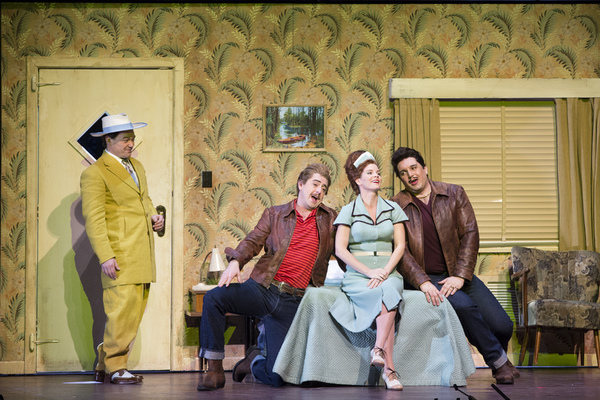 Christopher Maltman as Don Alfonso, Ben Bliss as Ferrando, Kelli O'Hara as Despina, and Adam Plachetka as Guglielmo in Mozart's Cosi fan tutte. Photo: Martin Smith / English National Opera
