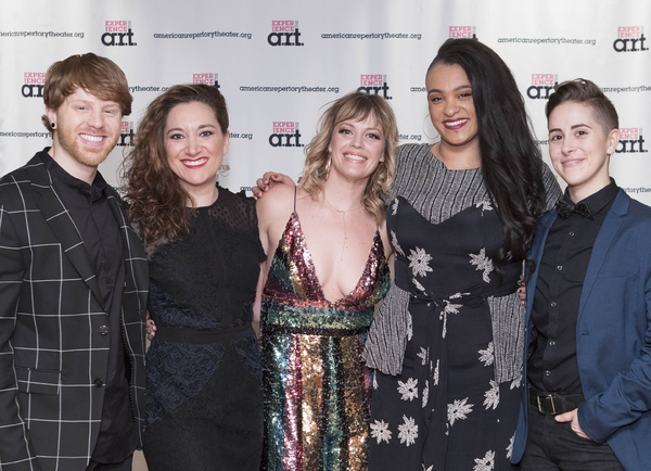 Jagged Little Pill cast members Logan Hart, Laurel Harris, Elizabeth Stanley, Nora Schell, and Soph Menas at the 2018 A.R.T. Gala. Photo: Gretjen Helene Photography.