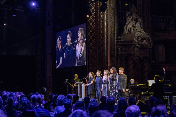 Jagged Little Pill guitarist Eric B. Davis, cast members Laurel Harris, Soph Menas, Elizabeth Stanley, Nora Schell, Logan Hart, percussionist Shannon Ford, and music director Bryan Perri perform at the 2018 A.R.T. Gala. Photo: Gretjen Helene Photography.