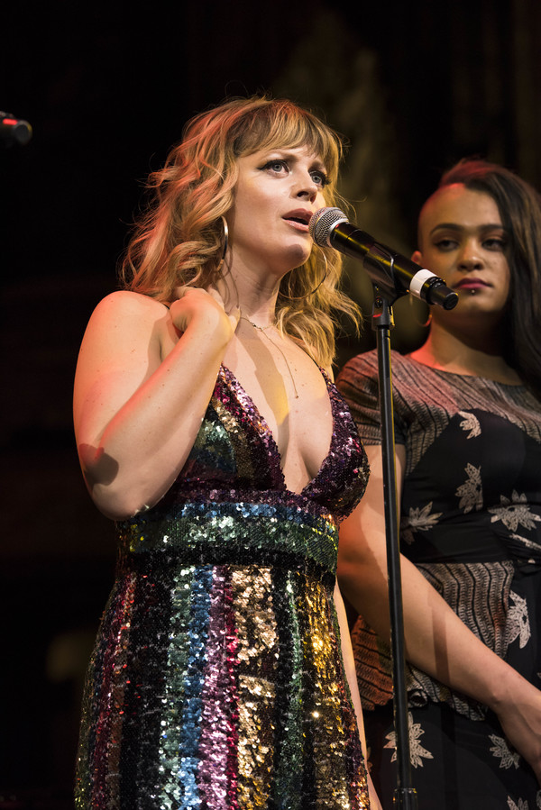 Jagged Little Pill cast members Elizabeth Stanley and Nora Schell perform at the 2018 A.R.T. Gala. Photo: Liza Voll.