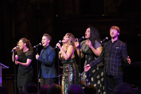 Jagged Little Pill cast members Laurel Harris, Soph Menas, Elizabeth Stanley, Nora Schell, and Logan Hart perform at the 2018 A.R.T. Gala. Photo: Liza Voll.