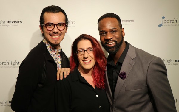 (L to R) Assistant Director Adrian Abel Azevedo, Music Director Andra Velis Simon and Director Christopher Carter at the opening night for Porchlight Revisits THEY'RE PLAYING OUR SONG from Porchlight Music Theatre