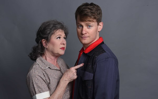 """(L to R) Nancy Wagner as �""""Gladys Calhoun"""" and Liam Quealy as �""""Huey  Photo"""