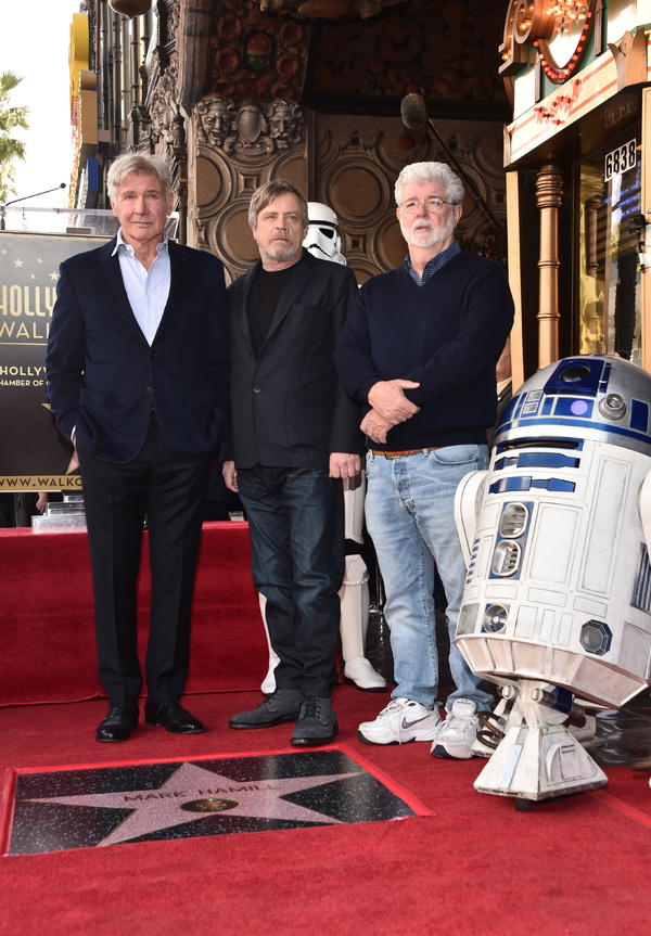 Harrison Ford, Mark Hamill, and George Lucas