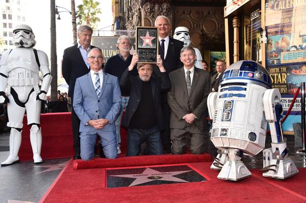 Harrison Ford, George Lucas, Jeff Zarrinnam, Mitch O'Farrell, Mark Hamill, & Leron Gubler