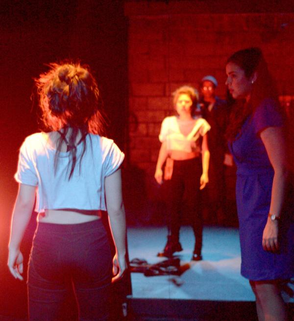 Carolina Do (Cassandra), Sam Kebede (DJ Scatterwall), Sarah Moore (Jo)