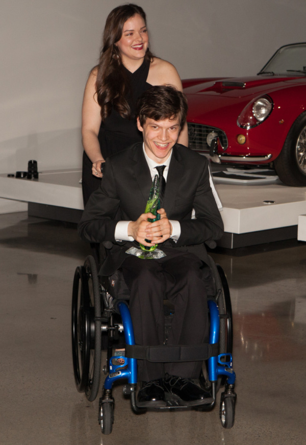 Kelsey Fowler and Micah Fowler at United Cerebral Palsy of Los Angeles' Art of Care Gala where Micah was honored with their Trailblazer Award.