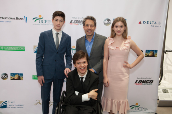 Mason Cook, John Ross Bowie and Kyla Kenedy flank Micah Fowler at United Cerebral Palsy of Los Angeles' Art of Care Gala where Fowler received their Trailblazer Award.