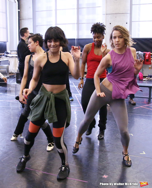 Vanessa Hudgens with cast during the Broadway Center Stage Rehearsal for 'In The Heights' on March 13, 2018 at Baryshnikov Arts Center in New York City.