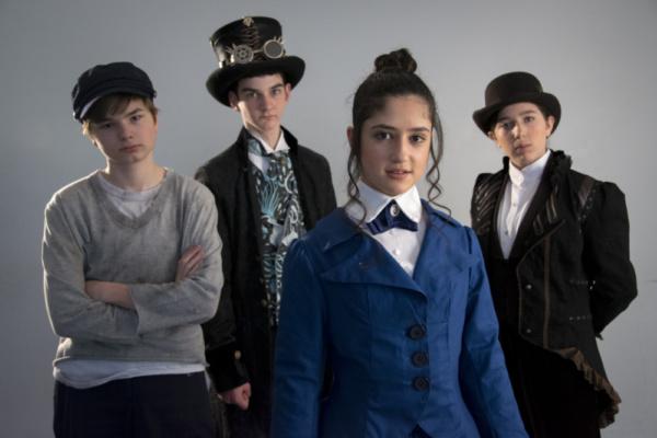 Calin Estes as Ned Land, Will McDonald as Captain Nemo, Elizabeth Belilty as Pieretta Aronnax and Isabella Wilson as Conseil.  photo by Jason Johnson-Spinos