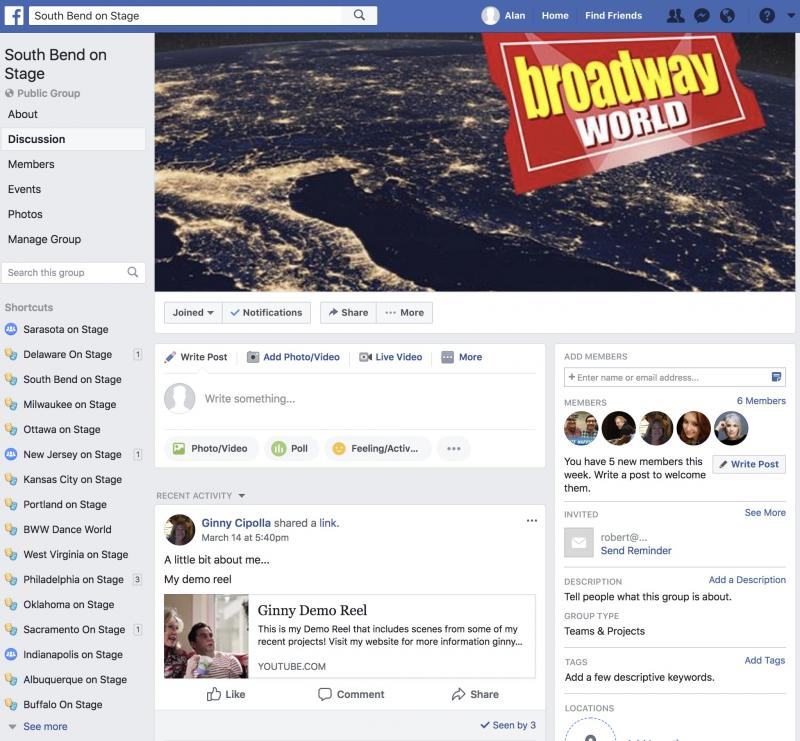 Join The BWW South Bend on Stage Facebook Group
