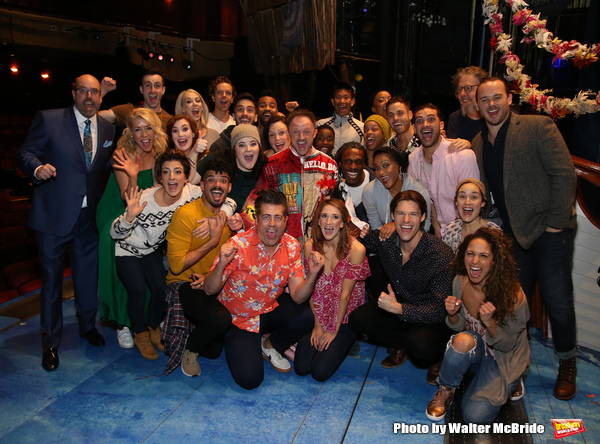 Matt Allen with Christopher Ashley, Kelly Devine and cast members