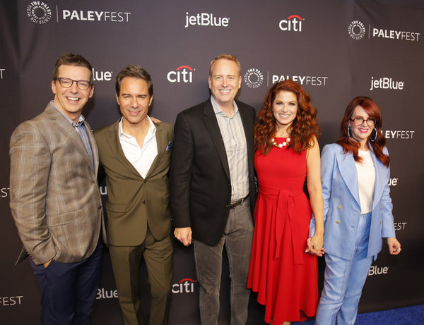 Sean Hayes, Eric McCormack, Robert Greenblatt, Debra Messing, Megan Mullally Haston