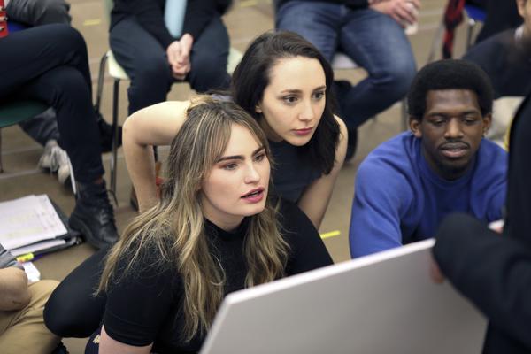 Kathryn Gallagher (Ensemble), Lauren Patten (Jo), and Yeman Josiah Brown (Swing)