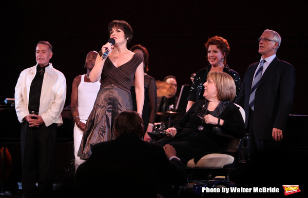 """Sammy Williams, Ron Dennis, Kelly Bishop, Donna McKechnie, Robert LuPone & Priscilla Lopez with Fran Liebergall performing in the All Star Benefit """"Six Degrees of Marvin Hamlisch� benefitting The Actors Fund and honoring Broadway Musical Director Fran"""