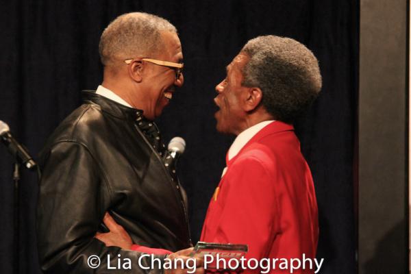 George Faison presented the 2018 Bob Harrington Lifetime Achievement Award to Andre D Photo