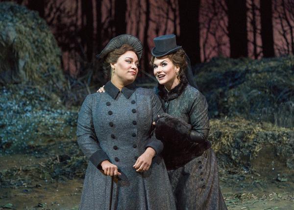 Deborah Nansteel as Alisa and Olga Peretyatko-Mariotti in the title role of Donizetti's 'Lucia di Lammermoor.' Photo: Jonathan Tichler / Met Opera