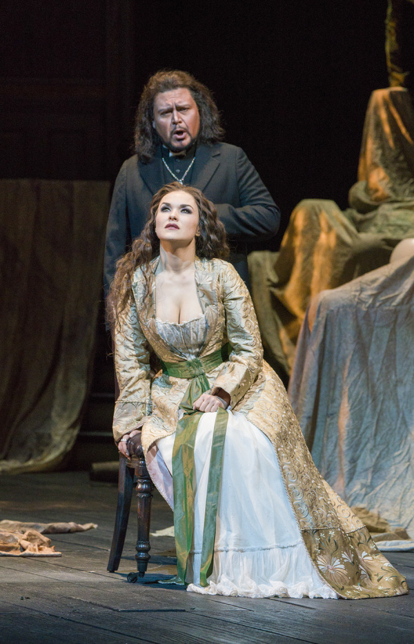Vitalij Kowaljow as Raimondo and Olga Peretyatko-Mariotti in the title role of Donizetti's 'Lucia di Lammermoor.' Photo: Richard Termine / Met Opera
