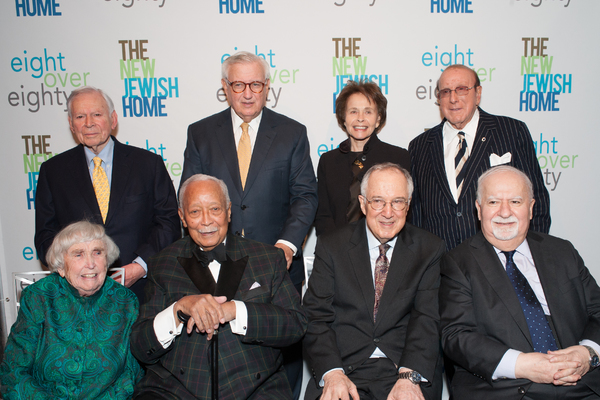Backrow: Finance leader and honoree John G. Heimann; Finance leader and honoree Roy Zuckerberg; Renowned journalist and honoree Marilyn Berger; Entertainment legend and honoree Clive Davis  Front row: Philanthropy stalwart and honoree Elizabeth McCormack;