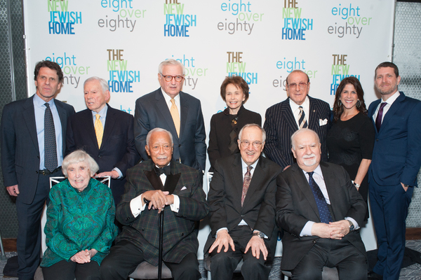 Back row: Chair of The New Jewish Home board of directors Michael Luskin; Finance leader and honoree John G. Heimann; Finance leader and honoree Roy Zuckerberg; Renowned journalist and honoree Marilyn Berger; Entertainment legend and honoree Clive Davis;