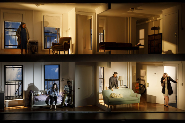 Full Cast on the two-level set, designed by Dane Laffrey