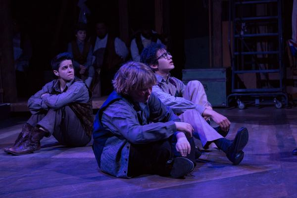 (L to R) EMILY COHEN (Boy), GUNNAR RAY (Prentiss) and PARKER DEAN (Ted) and the Ensemble