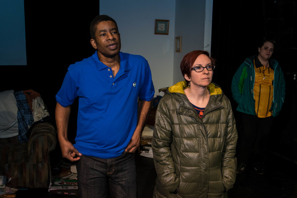 Keith Jackson as Richard, Nikki Smith as Emily and Monica Finney as Sam in @thespeedofjake by Jennifer Maisel, a co-production between OGP and MadLab Theatre Photo Credit: Michelle Hanson