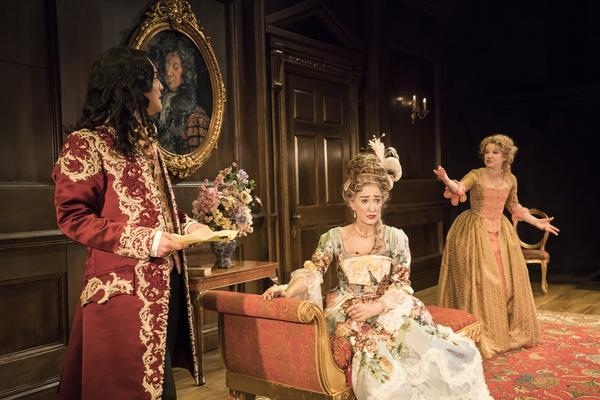 Alex Beckett (Waitwell), Haydn Gwynne (Lady Wishfort) and Sarah Hadland (Foible) Photo