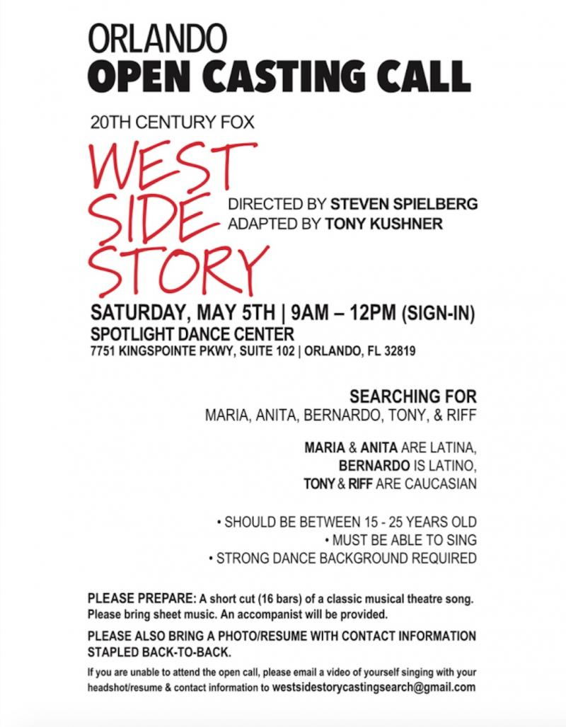 Steven Spielberg's WEST SIDE STORY Remake Will Hold NYC & Orlando Open Calls