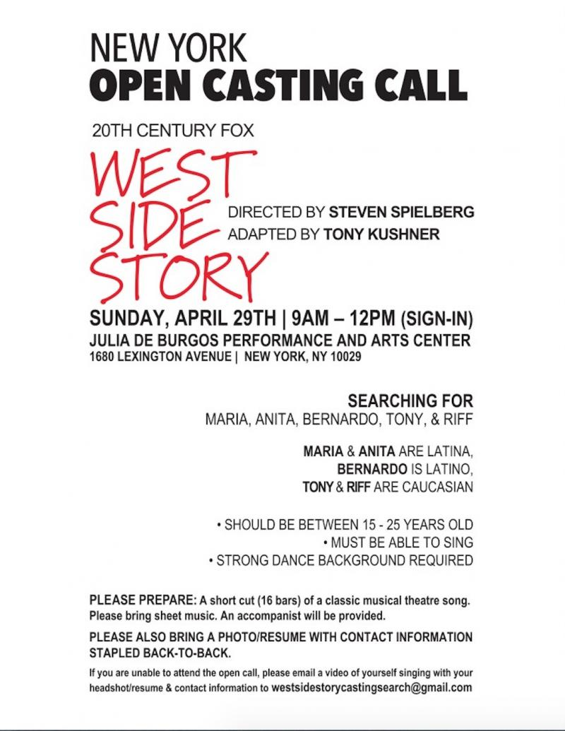 Steven Spielberg's WEST SIDE STORY Remake Will Hold Open Call This Weekend in NYC!