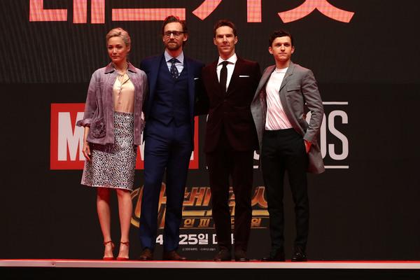 Tom Hiddleston; Benedict Cumberbatch; Tom Holland; Pom Klementieff Photo