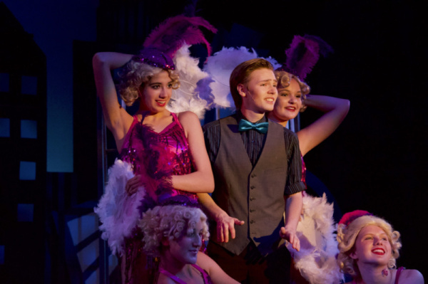 Austin Porter (Jimmy Smith) and Jimmy's Girls (Emma Kozel, Jordan Brent, Abby Kozel, and Shaye Duncan) in Limelight Performing Arts' production of Thoroughly Modern Millie on stage at the Mesa Arts Ce