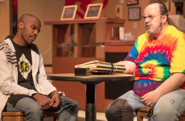 Evan Lovelace (Franco) and Bill Pelletier (Arthur) in SUPERIOR DONUTS at Olathe Civic Theatre Association. Photo by Shelly Stewart Banks.