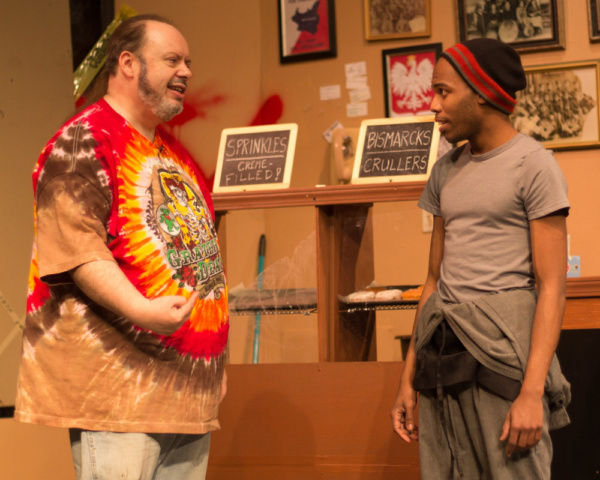 Bill Pelletier (Arthur) and Evan Lovelace (Franco) in SUPERIOR DONUTS at Olathe Civic Theatre Association. Photo by Shelly Stewart Banks.